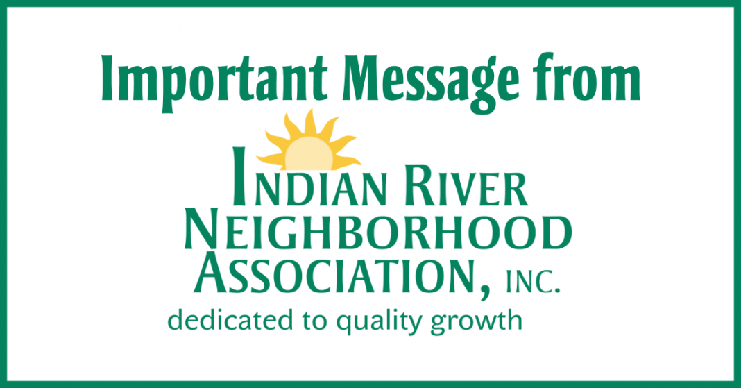 important message from Indian River Neighborhood Association