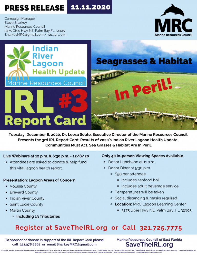 Marine Resources Council Presents the 2020 Indian River Lagoon Health Update